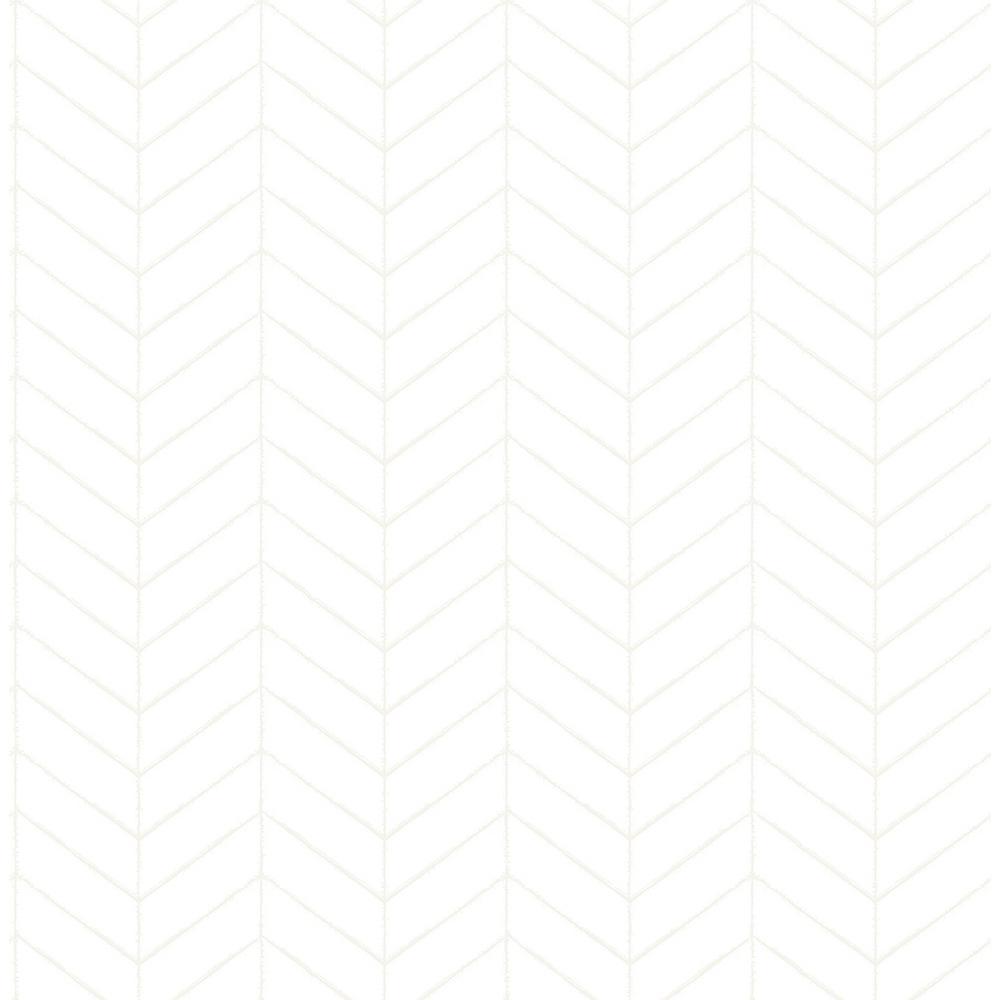 56.4 sq. ft. Bison Off-White Herringbone Wallpaper