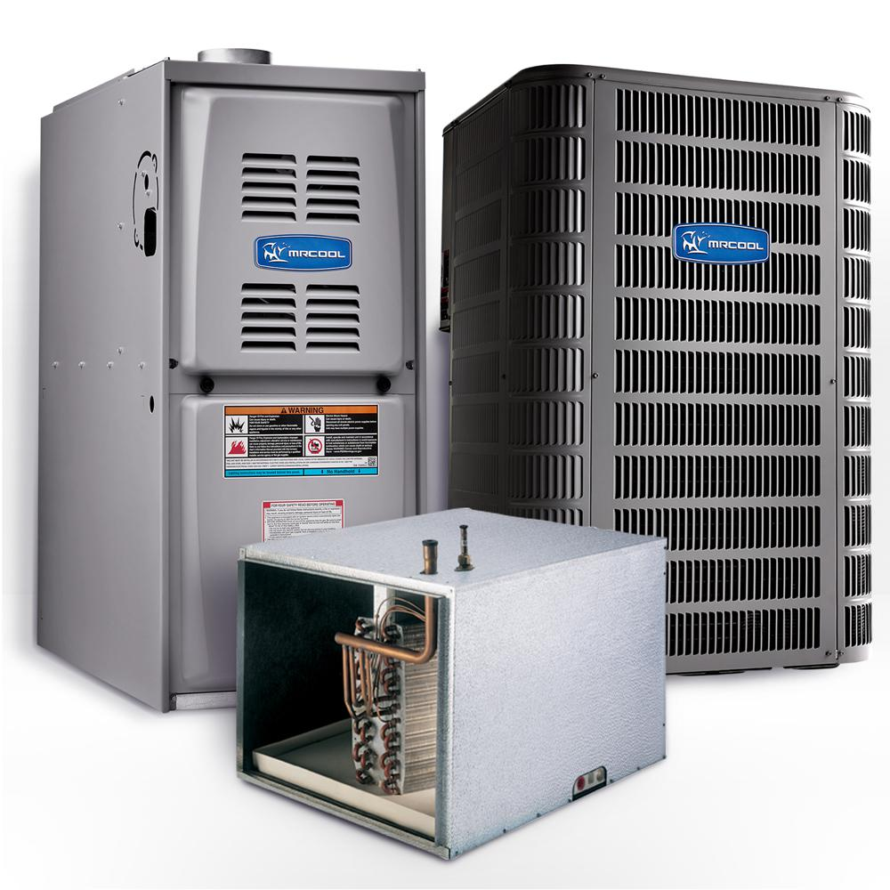 MRCOOL - Signature 3 Ton 15.1 SEER Horizontal 80% AFUE 90,000 BTU Complete Split System Air Conditioner w/ Gas Furnace