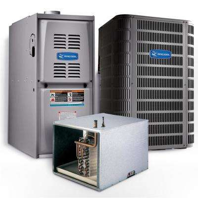 Signature 4 Ton 14.25 SEER Horizontal 80% AFUE 90,000 BTU Complete Split System Air Conditioner with Gas Furnace