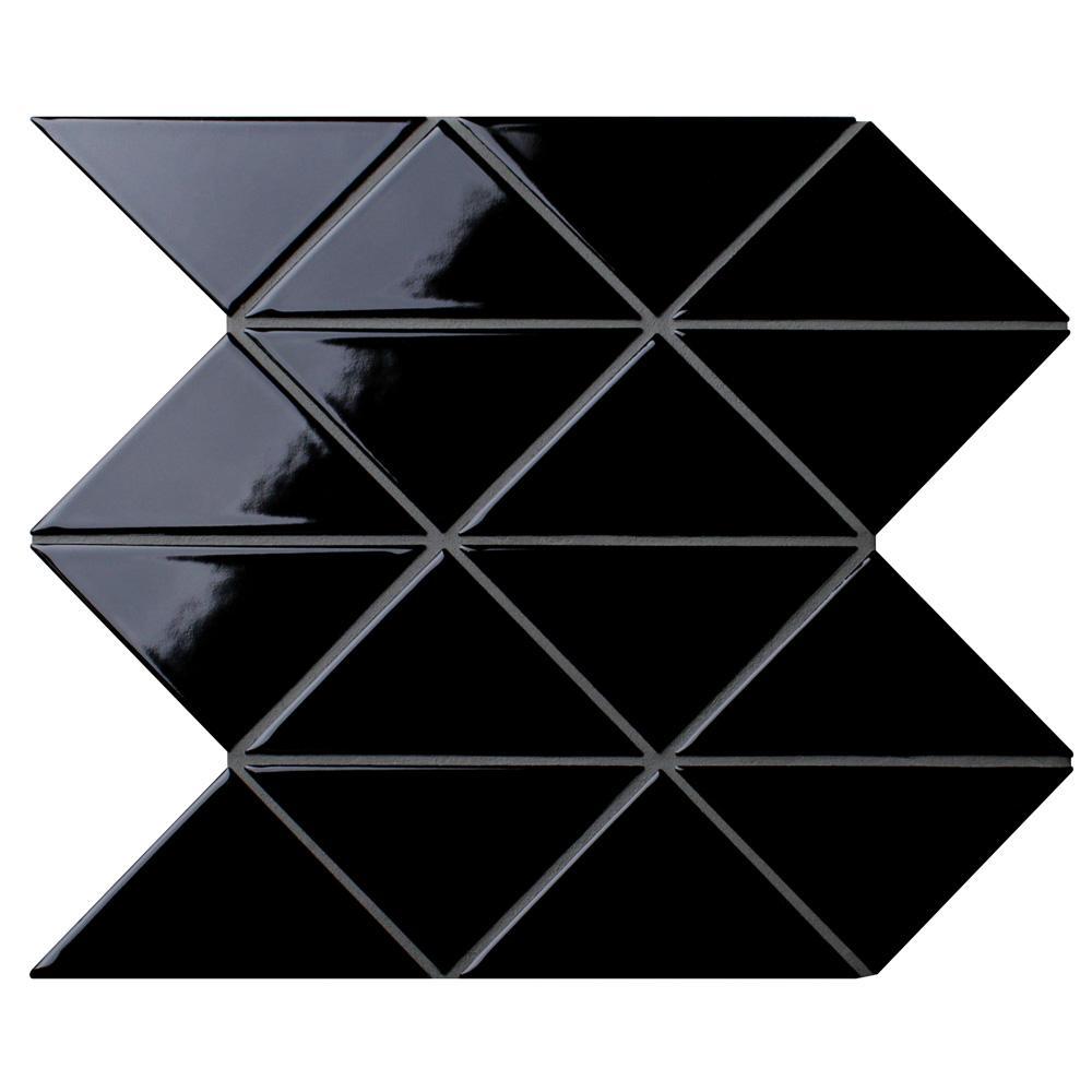 Merola Tile Tre Super Jag Glossy Black 10 1 4 In X 10 1 4