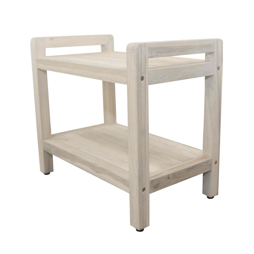 Coastal Vogue Classic 24 in. L Teak Shower Stool with LiftAide Arms and Shelf in Driftwood