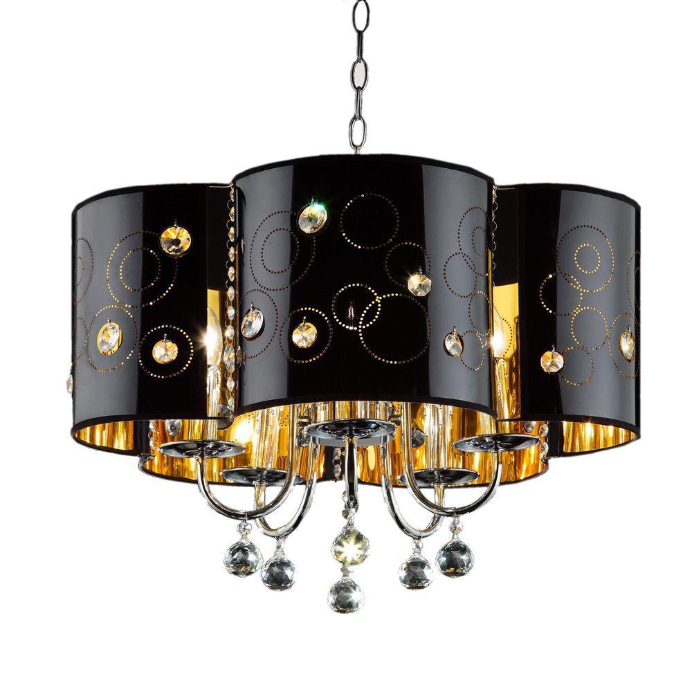 Starry Night 5-Light Black/Silver Steel Ceiling Lamp