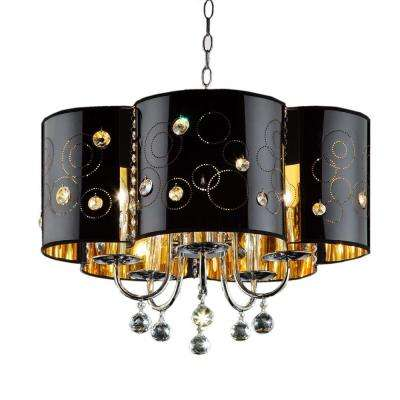 Starry Night 5-Light Black/Silver Steel Ceiling Lamp