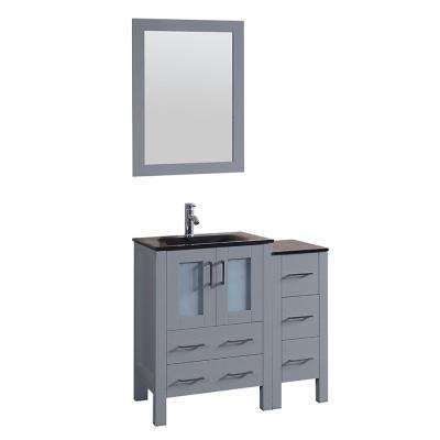 36 in. W Single Bath Vanity with Tempered Glass Vanity Top in Black with Black Basin and Mirror