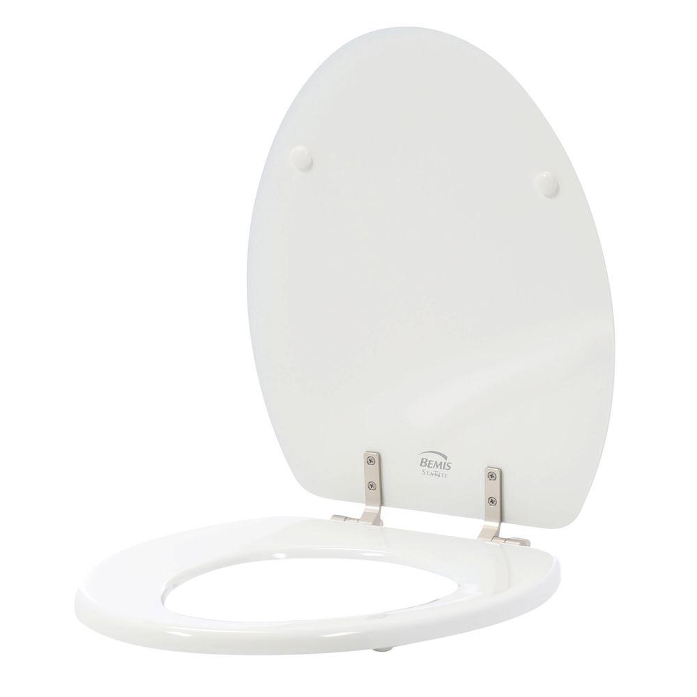 STA-TITE Elongated Closed Front Toilet Seat in White