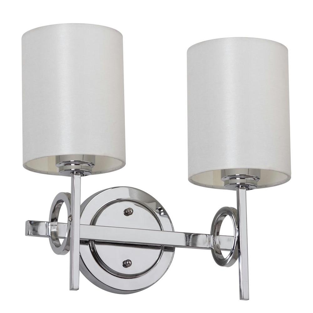 Safavieh Ventura 2 Light Chrome Sconce With Off White Shade