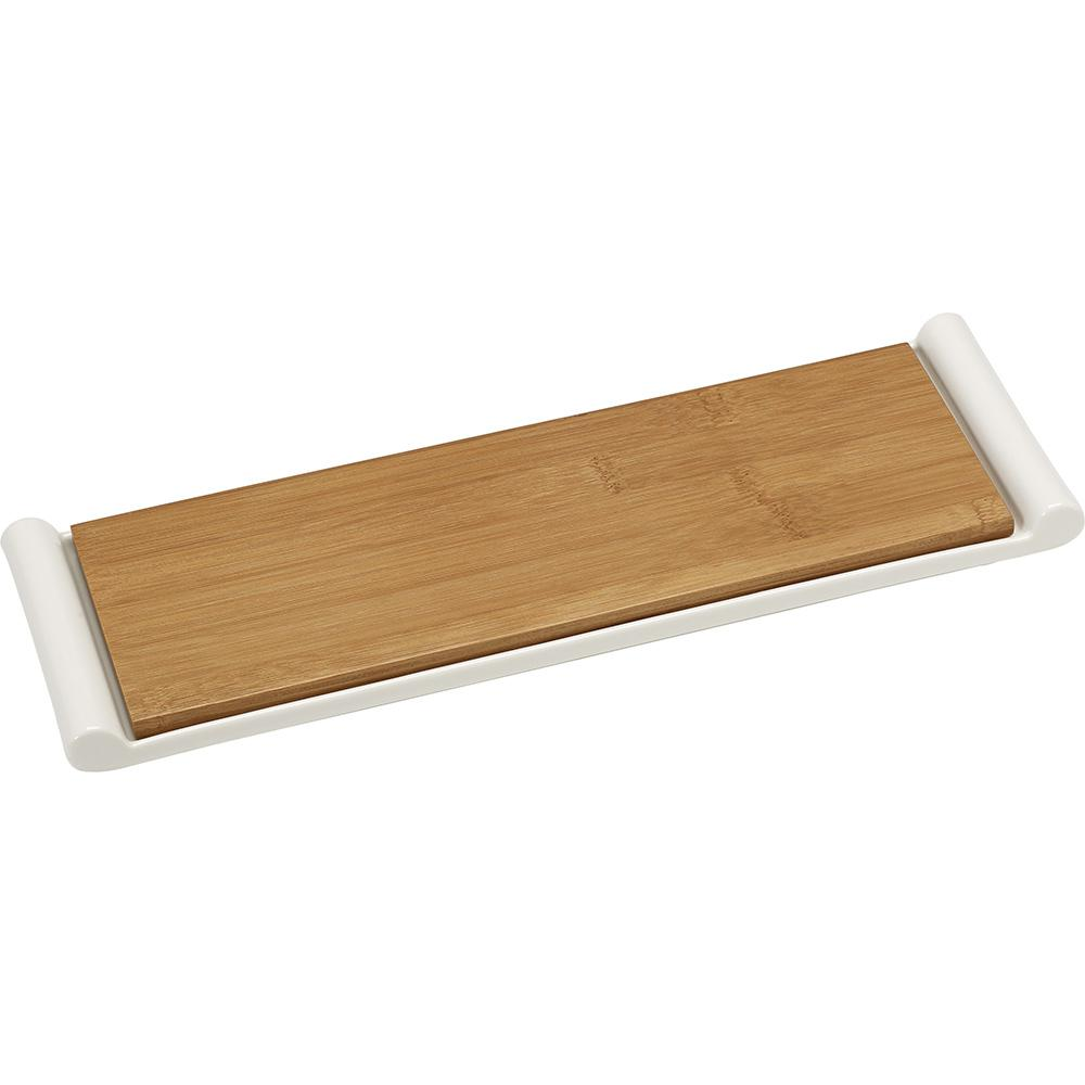 2-Piece Bamboo and Ceramic Cutting Board and Serving Tray
