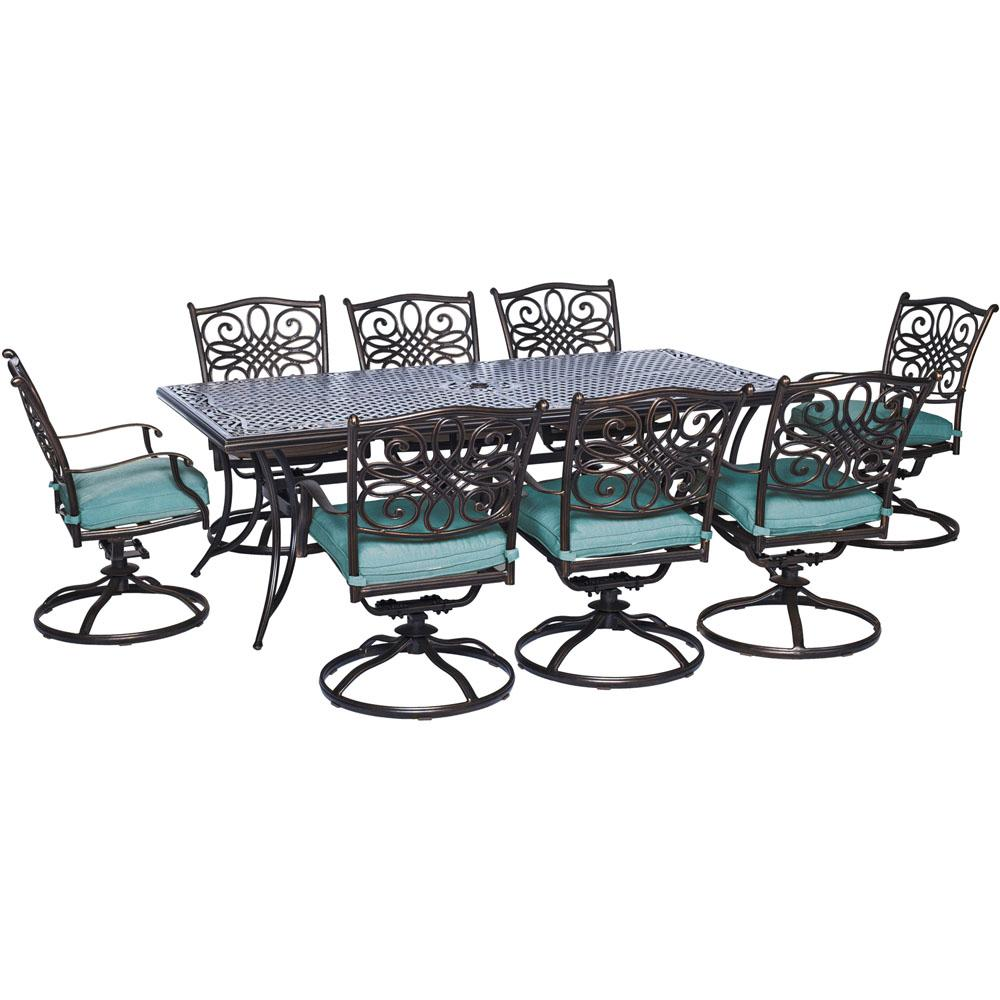 Hanover Traditions 9-Piece Outdoor Rectangular Patio Dining Set and 8 Swivel Dining Chairs with Blue Cushions