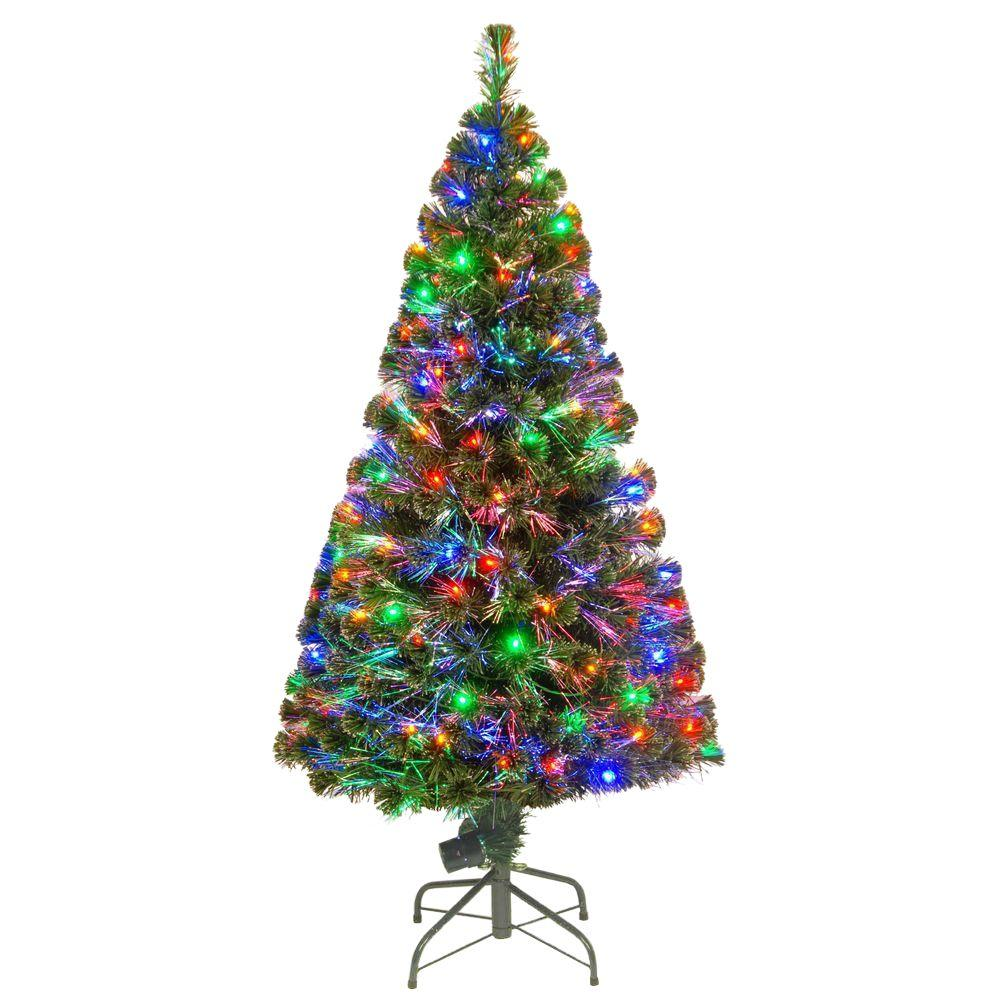 national tree company 5 ft fiber optic led evergreen artificial christmas tree with 150 multi