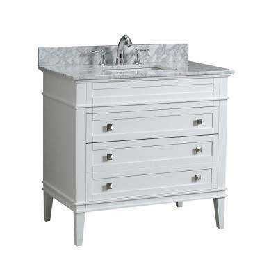 Rivoli 36 in. W x 22 in. D Bath Vanity in White with Carrara Marble Vanity Top with White Basin