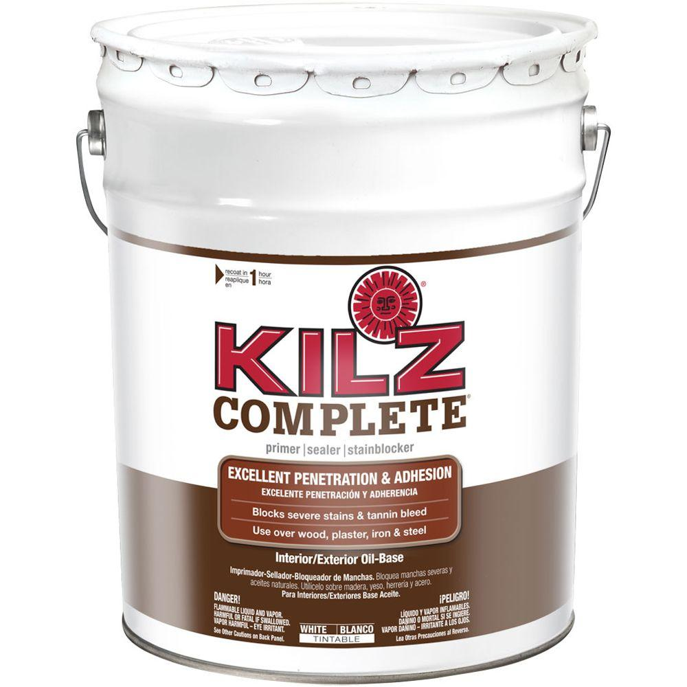 Kilz Complete 5 Gal White Oil Based Interior Exterior Primer Sealer And Stain Blocker L101305