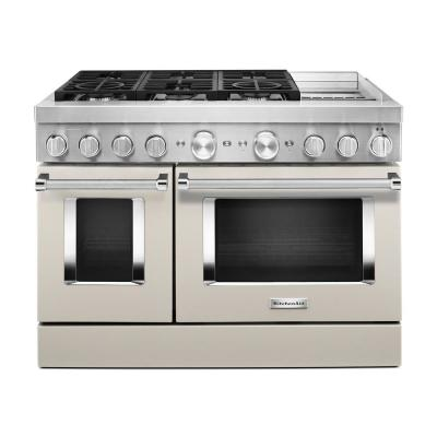 48 in. 6.3 cu. ft. Smart Double Oven Dual Fuel Range with True Convection in Milkshake with Griddle