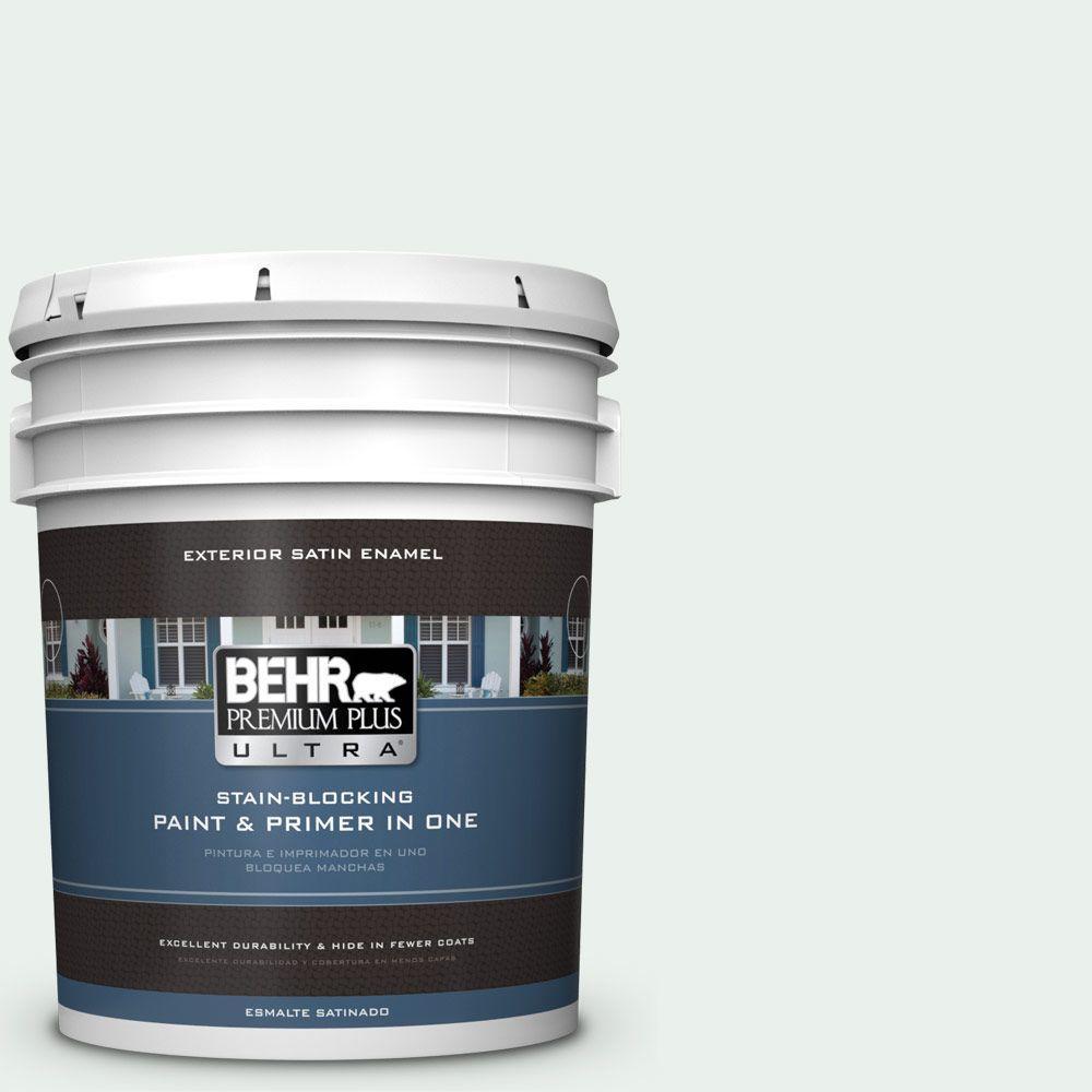 BEHR Premium Plus Ultra 5-gal. #470E-1 Breakwater White Satin Enamel Exterior Paint