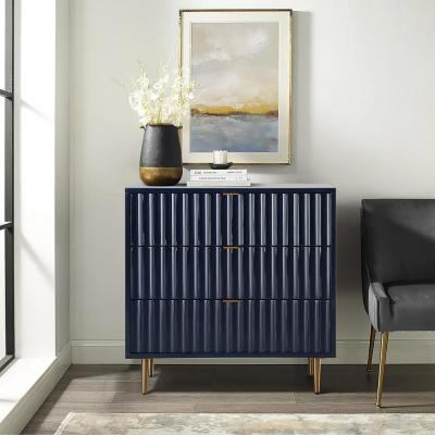 Blue Vertical pattern High Gloss 3-Drawers Storage Accent Chest with Golden Stands