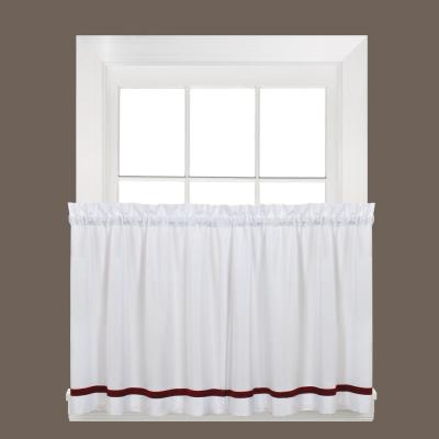 Kate 36 in. L Polyester Tier Curtain in Berry (2-Pack)