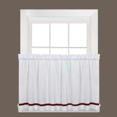 Semi-Opaque Kate 36 in. L Polyester Tier Curtain in Berry (2-Pack)