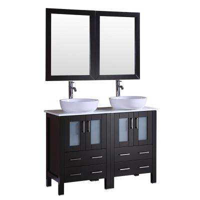 48 in. W Double Bath Vanity in Espresso with  Stone Vanity Top with White Basin and Mirror