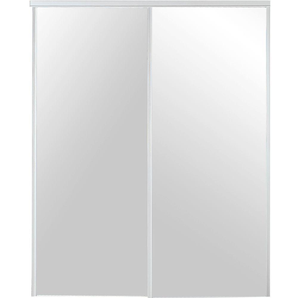 TRUporte 72 in. x 80 in. 230 Series Steel White Mirror Sliding Door