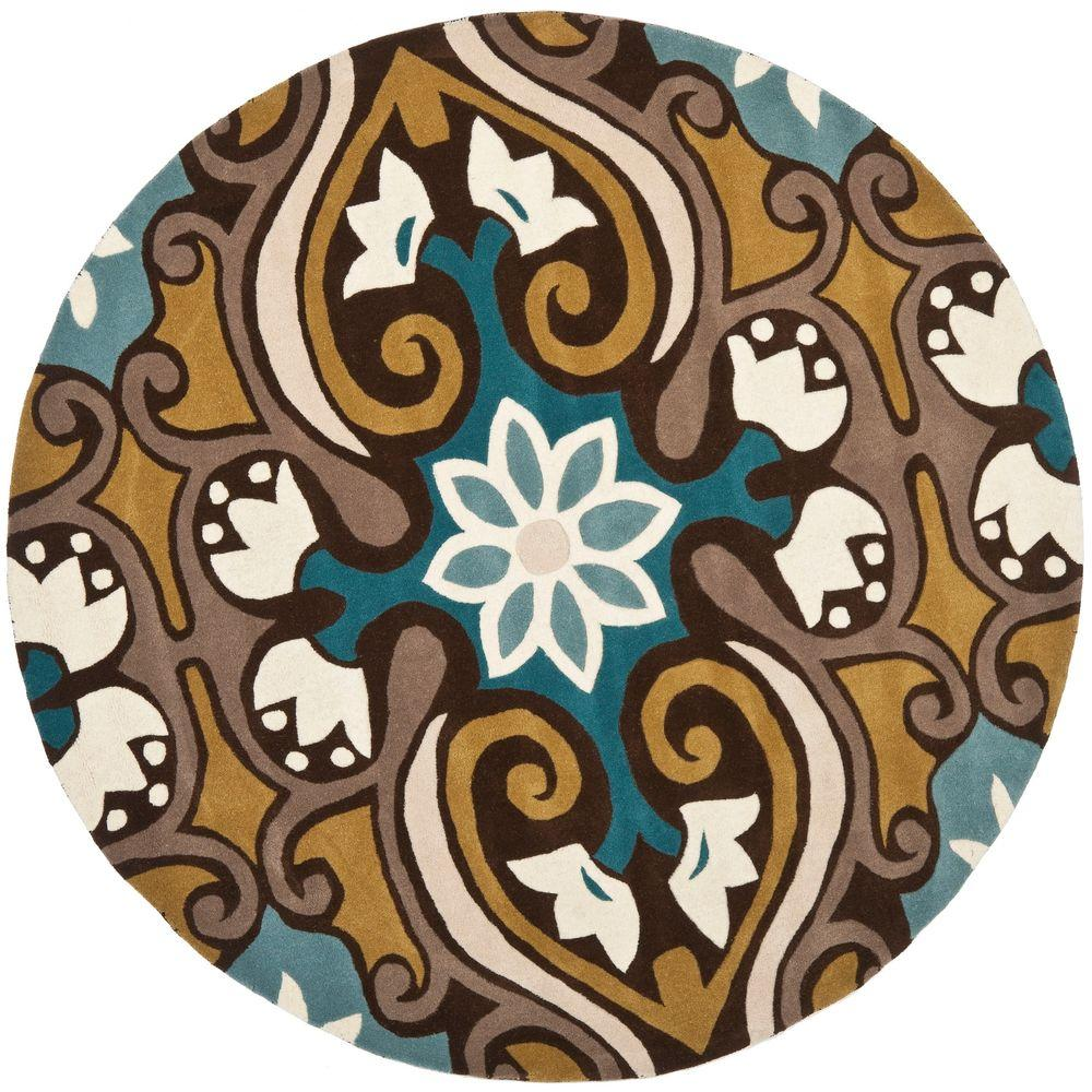 Wyndham Blue/Multi 7 ft. x 7 ft. Round Area Rug