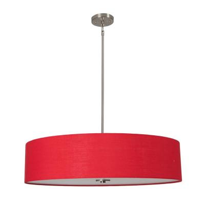 Lyell Forks Family 5-Light Satin Steel Pendant with Chili Pepper Red Fabric Shade