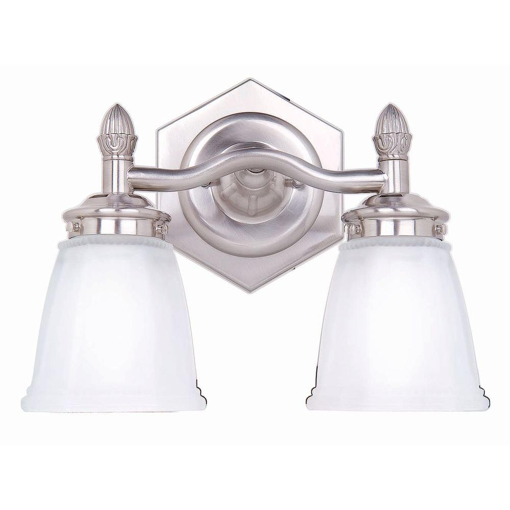 2-Light Brushed Nickel Vanity Light with Etched Glass Shades