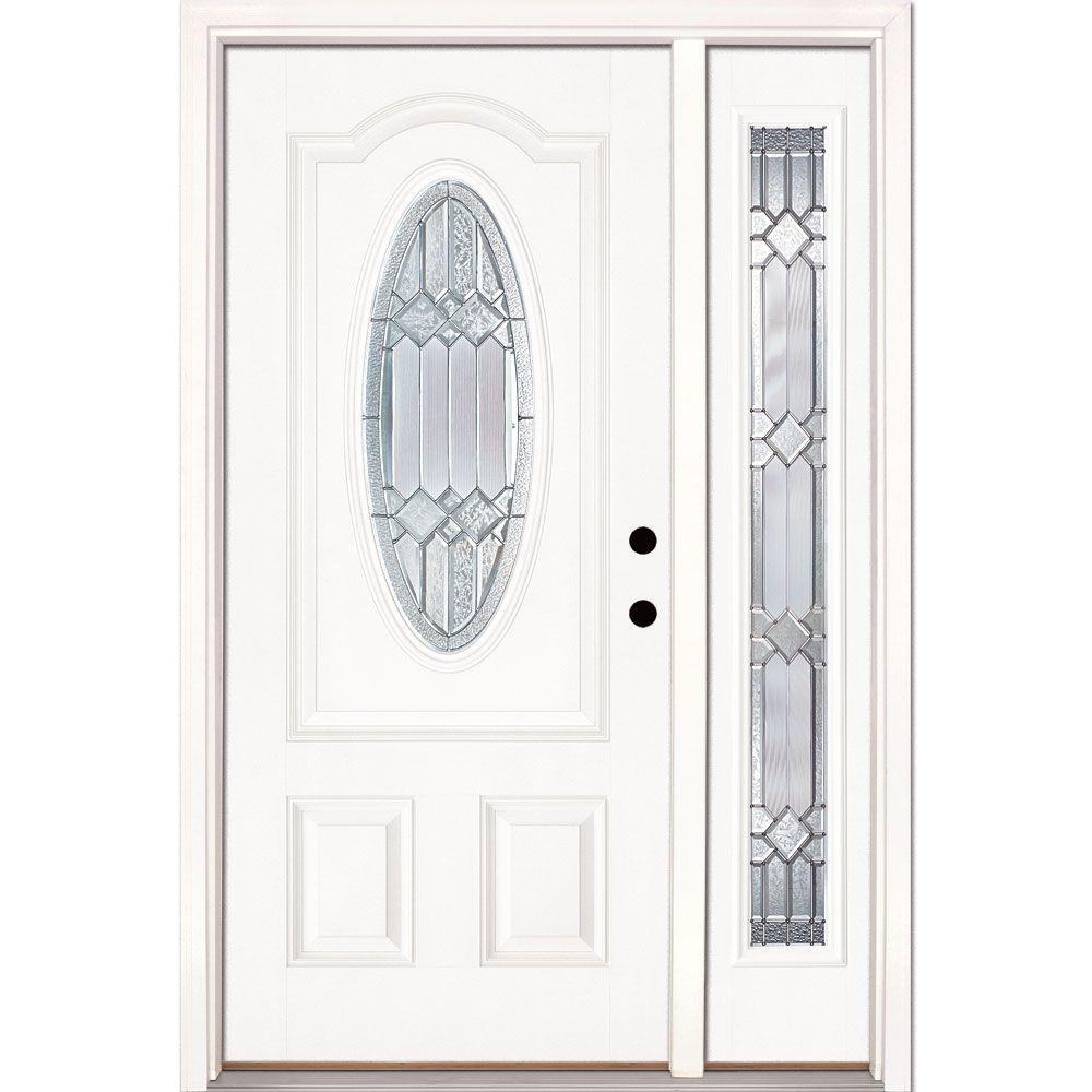 Feather River Doors 50.5 in.x81.625in.Mission Pointe Zinc 3/4 Oval Lt Unfinished Smooth Left-Hand Fiberglass Prehung Front Door w/ Sidelite