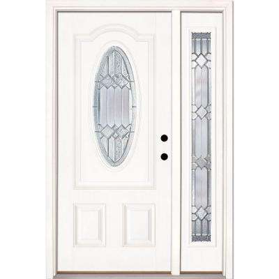 50.5 in.x81.625in.Mission Pointe Zinc 3/4 Oval Lt Unfinished Smooth Left-Hand Fiberglass Prehung Front Door w/ Sidelite