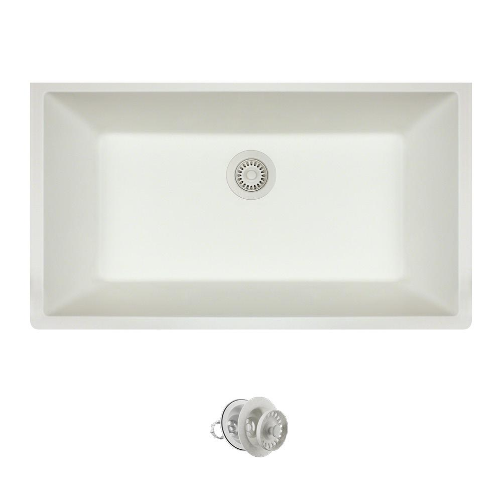 MR Direct All-in-One Undermount Quartz 32.625 in. 0-Hole Single Bowl ...