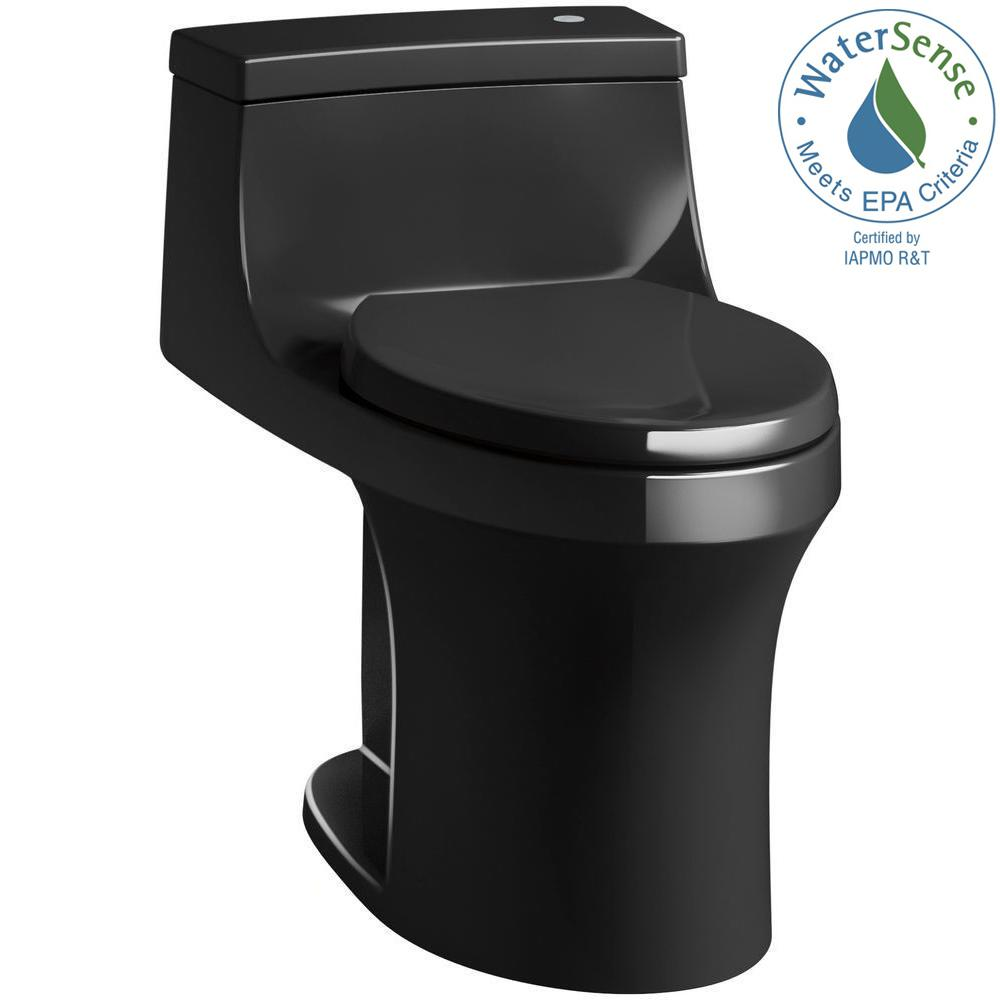 KOHLER San Souci Touchless Comfort Height 1-Piece 1.28 GPF Single Flush Elongated Toilet with AquaPiston Flush in Black Black