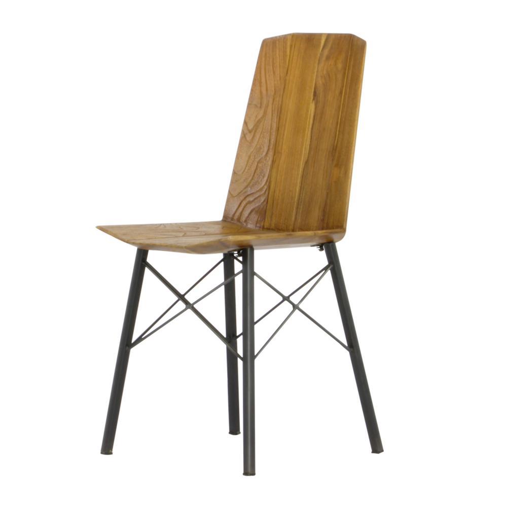 Sumatra Industrial Metal Solid Natural Teak Wood Dining Side Chair (Set of 2)