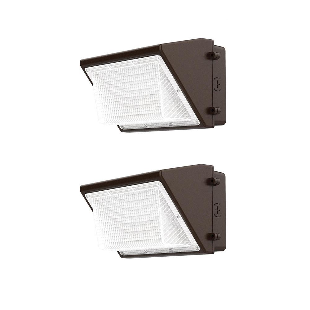 28-Watt LED Wall Pack, 3500 Lumens, Dusk to Dawn Outdoor Light (2-Pack)