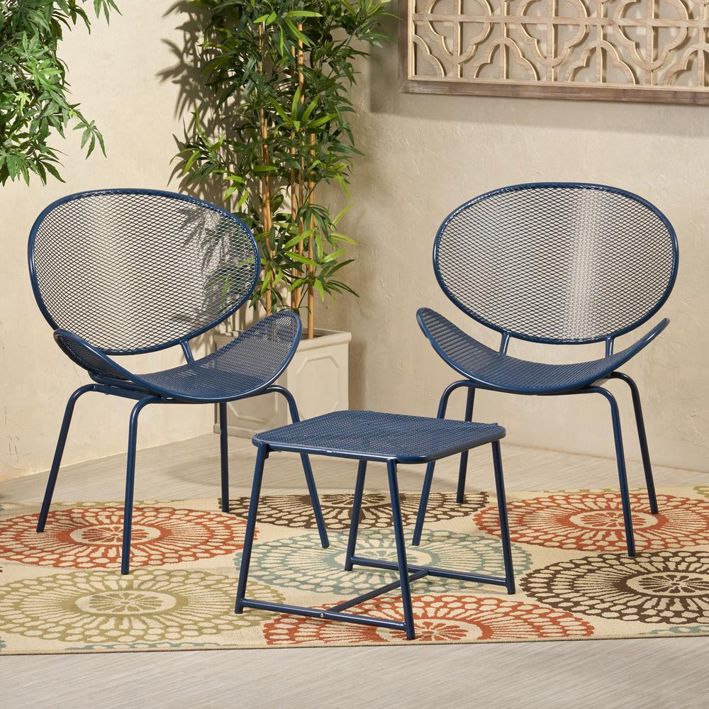 Elloree Matte Navy Blue 3-Piece Metal Patio Conversation Seating Set