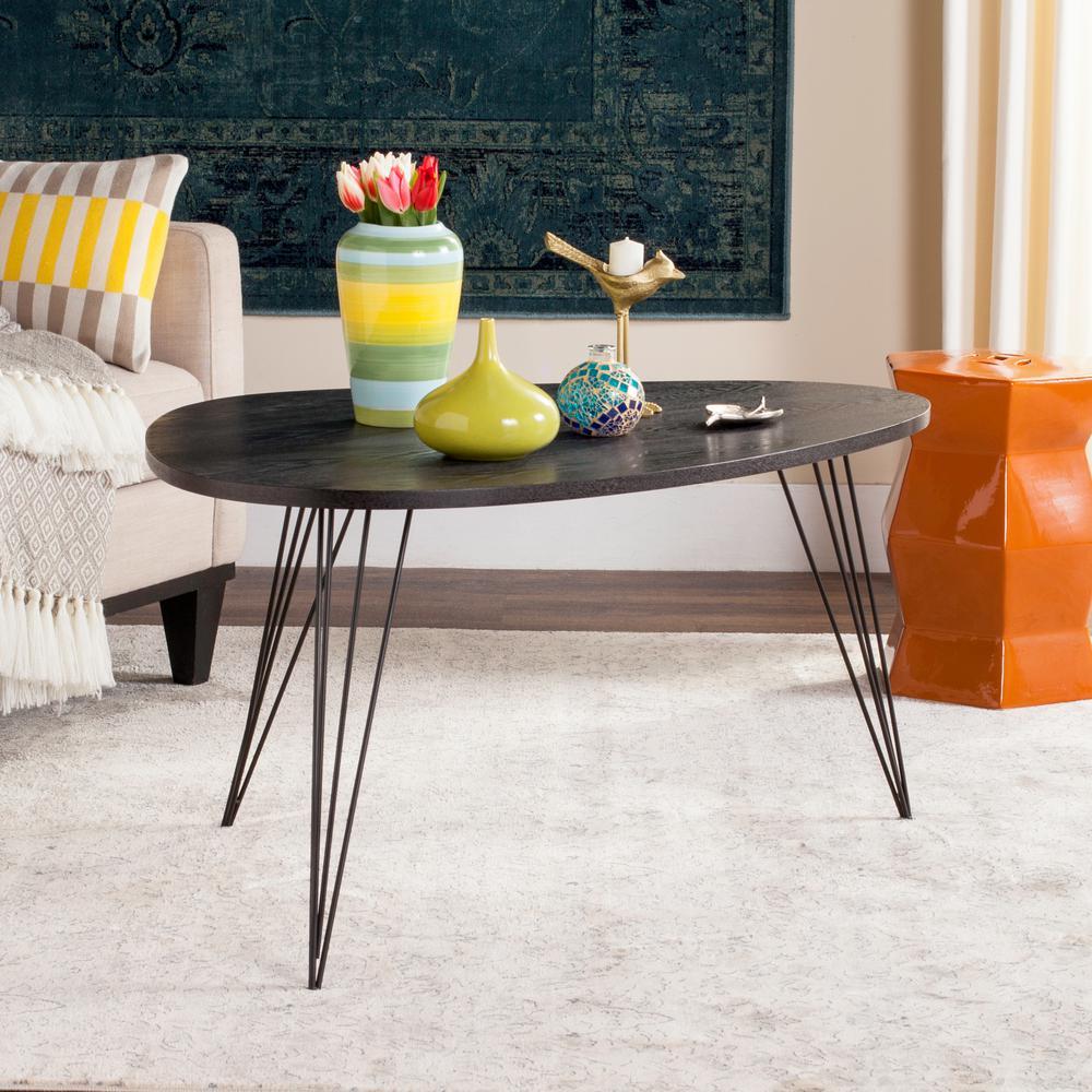 Safavieh Rocco Retro Mid Century Wood Black Coffee Table