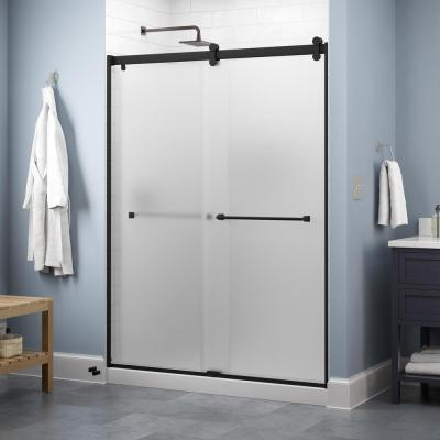 Lyndall 60 in. x 71 in. Contemporary Sliding Frameless Shower Door in Matte Black with Niebla Glass