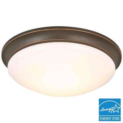 13 in. 360-Watt Equivalent Oil-Rubbed Bronze Integrated LED Flushmount with Frosted Glass Shade