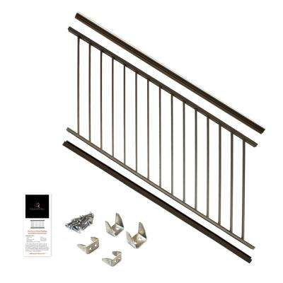 36 in. x 6 ft. Bronze Powder Coated Aluminum Preassembled Deck Stair Railing