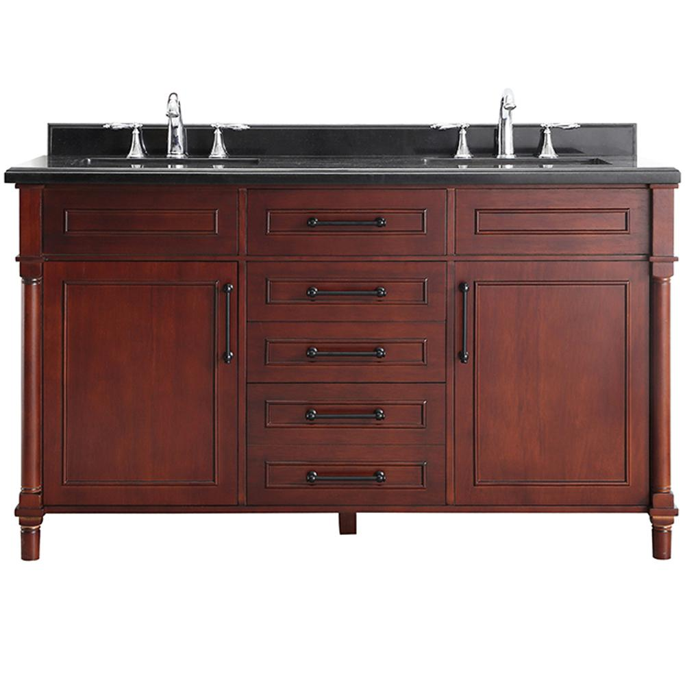 Home Decorators Collection Aberdeen 60 in. W x 22 in. D Bath Vanity in Dark Cherry with Granite Top in Black with White Sinks