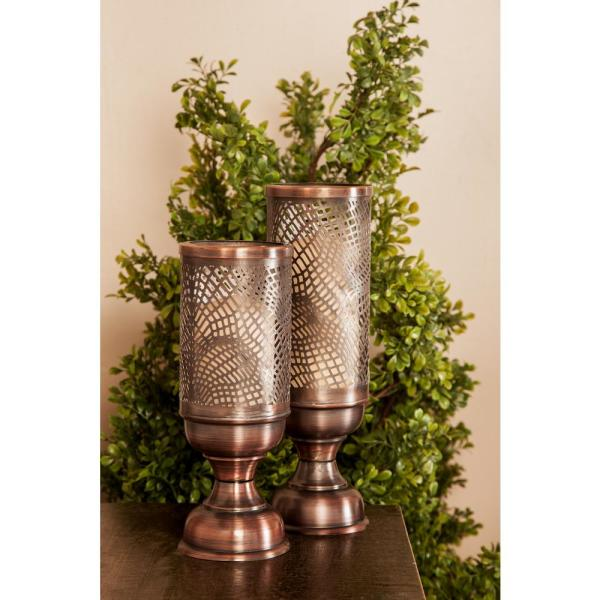 Litton Lane Bronze Iron Perforated Design Chalice-Shaped Candle Holders (Set of