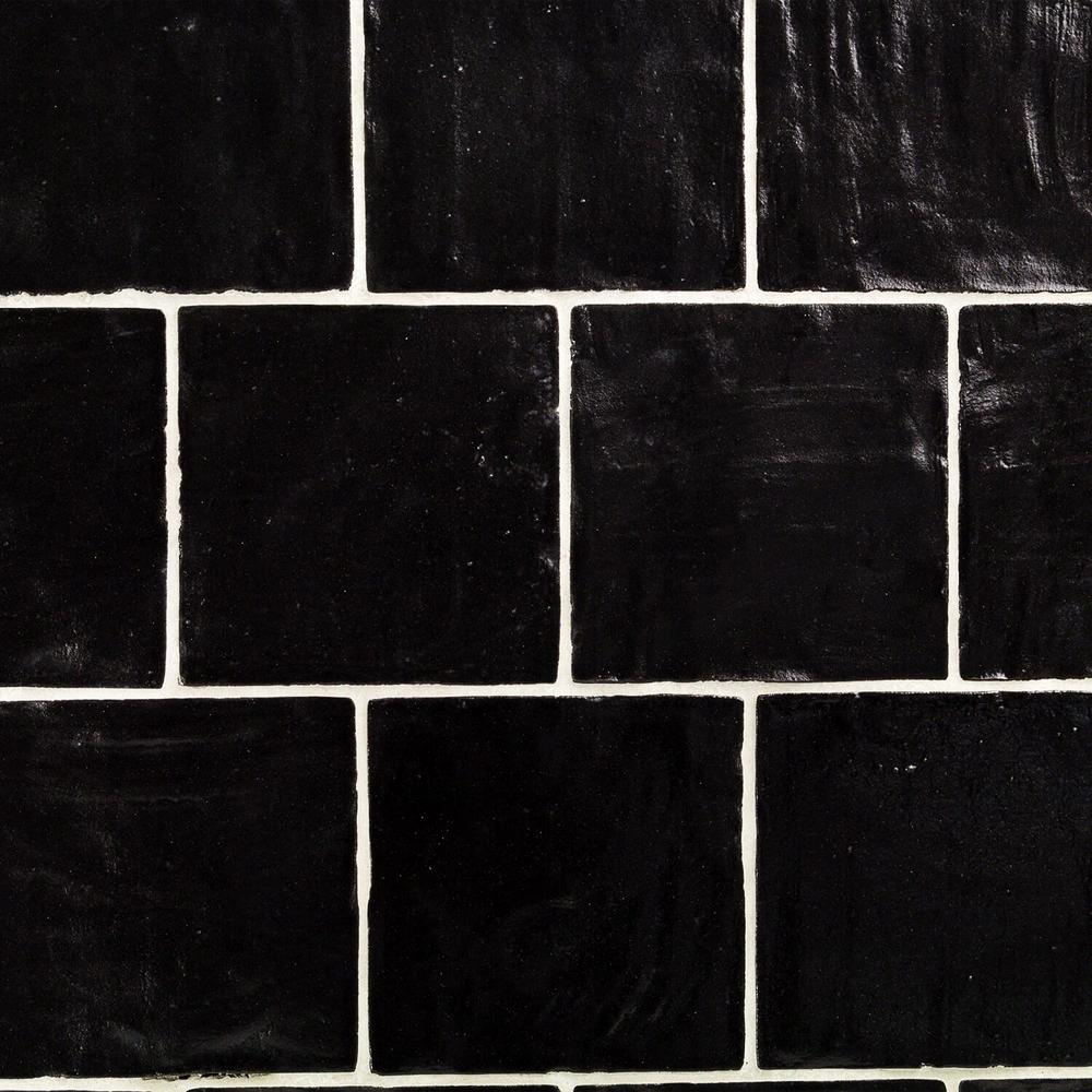 Amagansett Black 4 in. x 4 in. 9mm Satin Ceramic Wall