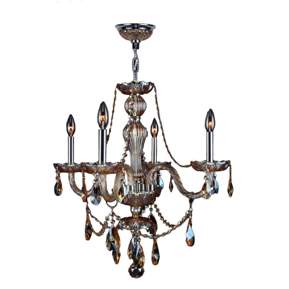 Provence Collection 4-Light Polished Chrome and Amber Crystal Chandelier