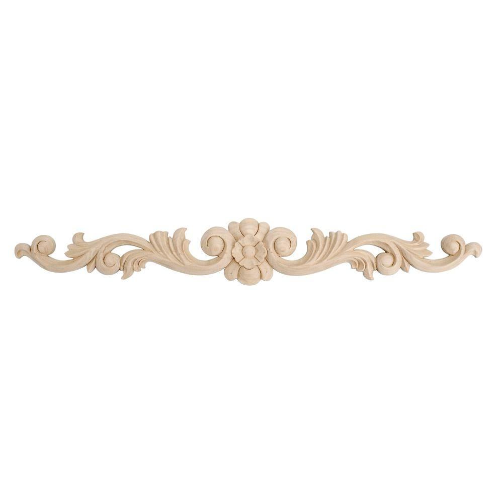 American Pro Decor 3-1/2 in. x 24 in. x 5/8 in. Unfinished Hand Carved North American Solid Hard Maple Wood Onlay Floral Wood Applique