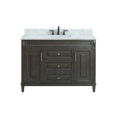 Sterling 49 in. W x 22 in. D x 35 in. H Vanity in Charcoal with Marble Vanity Top in Carrera White with White Basin