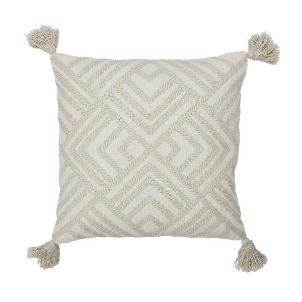 Cstudio Home by The Company Store 20 in. x 20 in. White and Natural Geometric Embroidered Pillow Cover