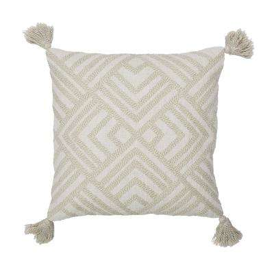 20 in. x 20 in. White and Natural Geometric Embroidered Pillow Cover