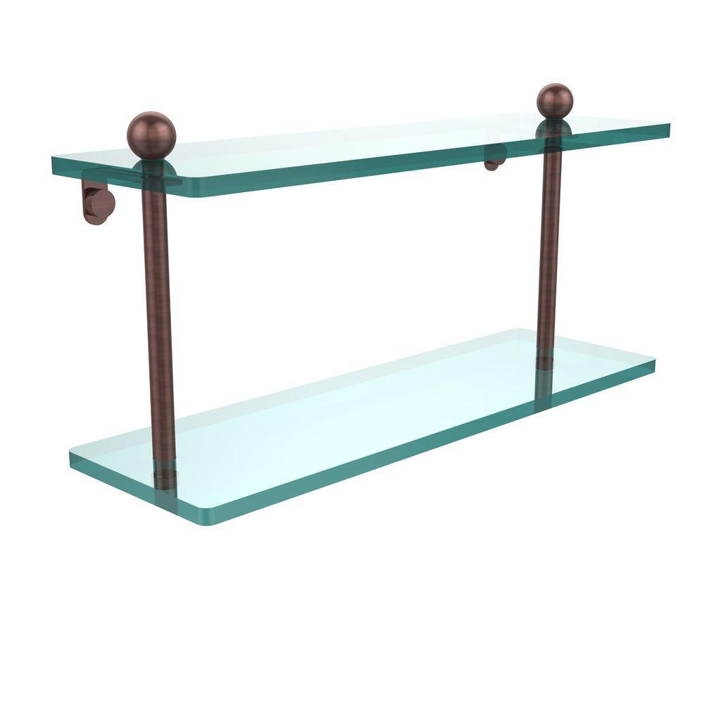 16 in. L x 8 in. H x 5 in. W 2-Tier Clear Glass Bathroom Shelf in Antique Copper
