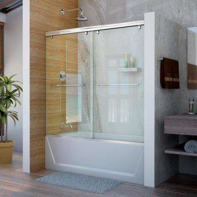 Charisma 56 in. to 60 in. W x 58 in. H Semi-Frameless Bypass Sliding Tub Door in Chrome
