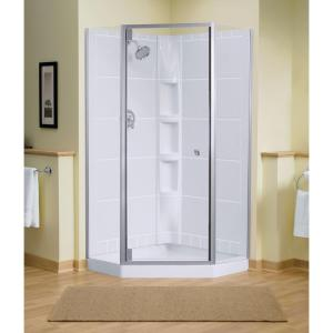 Sterling Solitare 29-7/16 inch x 72-1/4 inch Neo-Angle Shower Door in Silver with Handle by STERLING