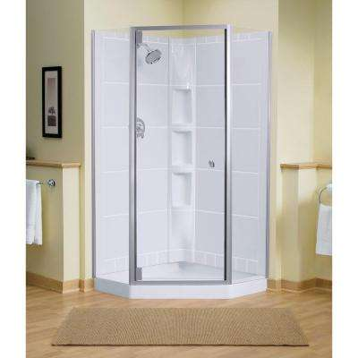 Solitare 29-7/16 in. x 72-1/4 in. Neo-Angle Shower Door in Silver with Handle