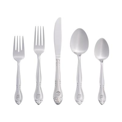 Rose Monogrammed Letter D 46-Piece Silver Stainless Steel Flatware Set (Service for 8)
