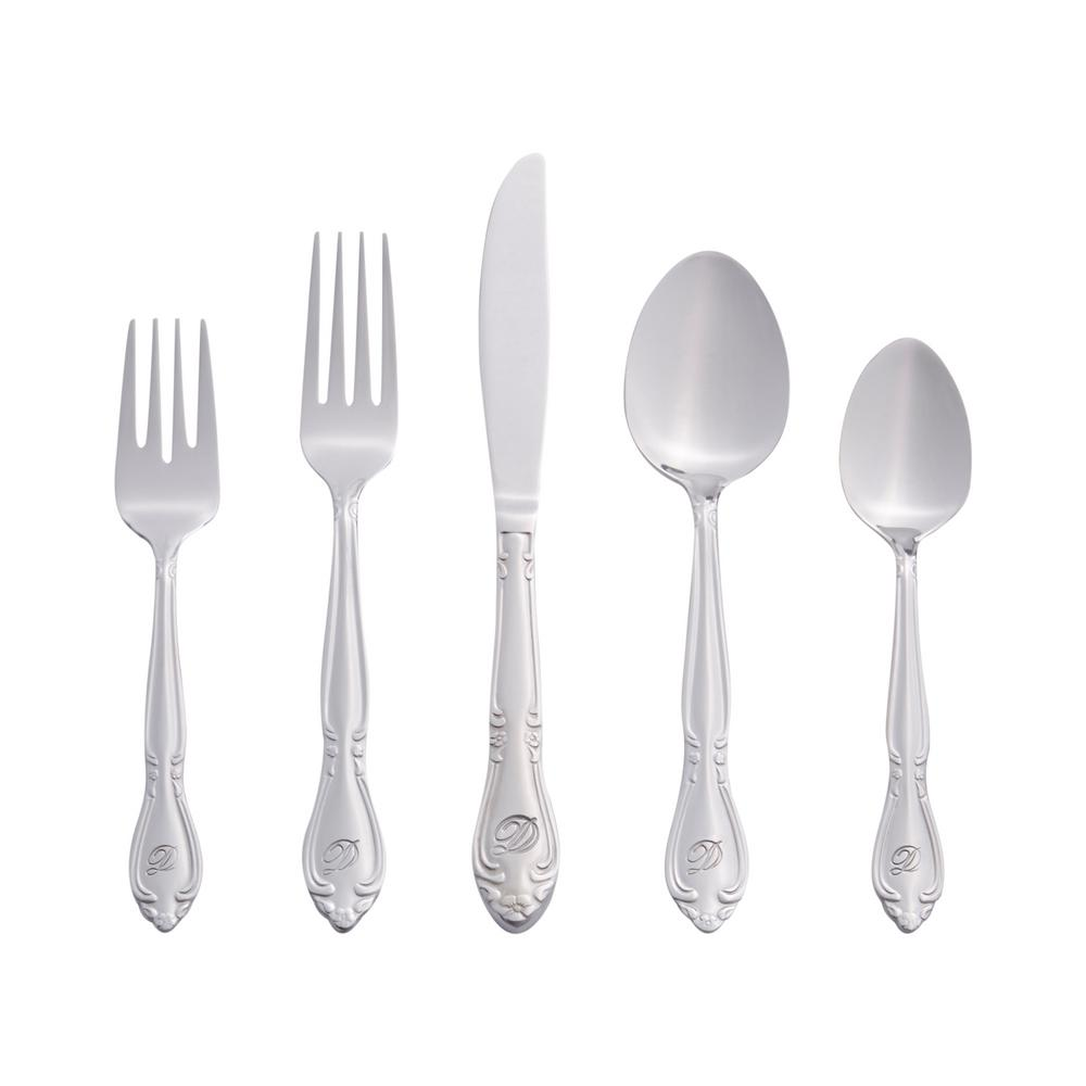 Rose Monogrammed Letter D 46-Piece Silver Stainless Steel Flatware Set